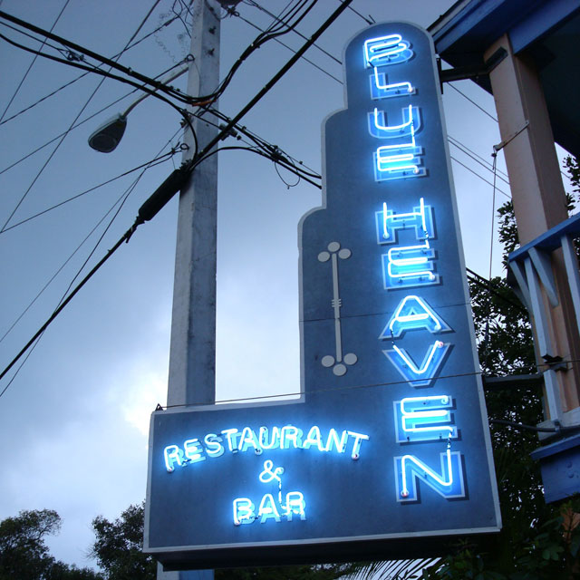 Blue Heaven sign by night